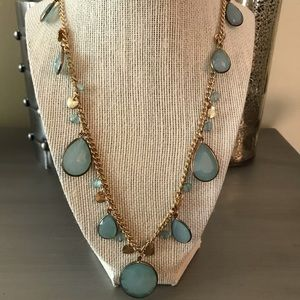 Candie's Gold Green Blue Long Necklace